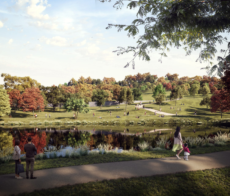 Detalle del nuevo espacio verde de la propuesta 'Nou Parc' de ON-A Arquitectura. . Image © ON-A