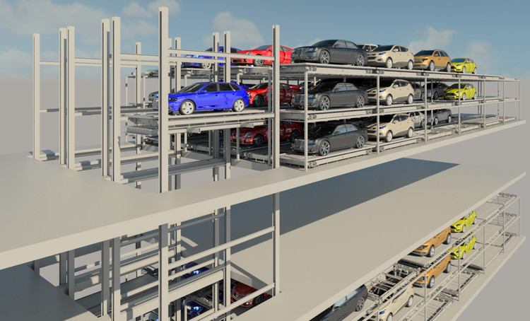 Fully Automated Parking Solutions: Space-saving systems with superior user experience, Space-saving fully automate parking solutions buy U-tron. 50% reduced parking footprint and superior user experience. Image Courtesy of U-tron Parking