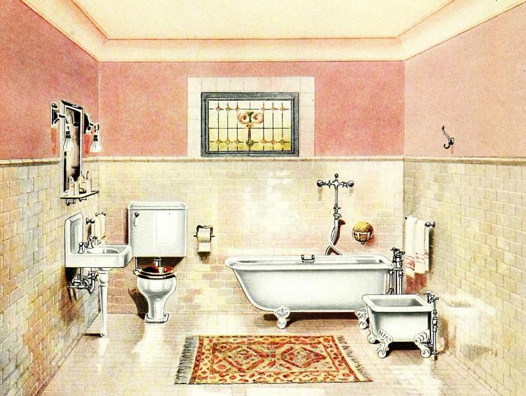 Baño moderno (Ilustración de catalogo 1912). Image © Internet Archive Book Images [Flickr] bajo dominio público