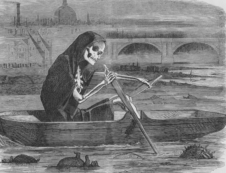 """""""The silent highwayman"""": La muerte navega el Támesis cobrando las vidas de quienes no han pagado para que se limpie el río durante la Gran Peste. Image © Punch Magazine [Wikimedia] Bajo dominio público"""