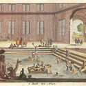 Baños imperiales a finales del siglo XVII. Las mesas flotantes llevan jarras para el agua y el vino.. Image © Jan Luyken or Cuyken (ungeklärt) [Wikimedia] Bajo dominio público
