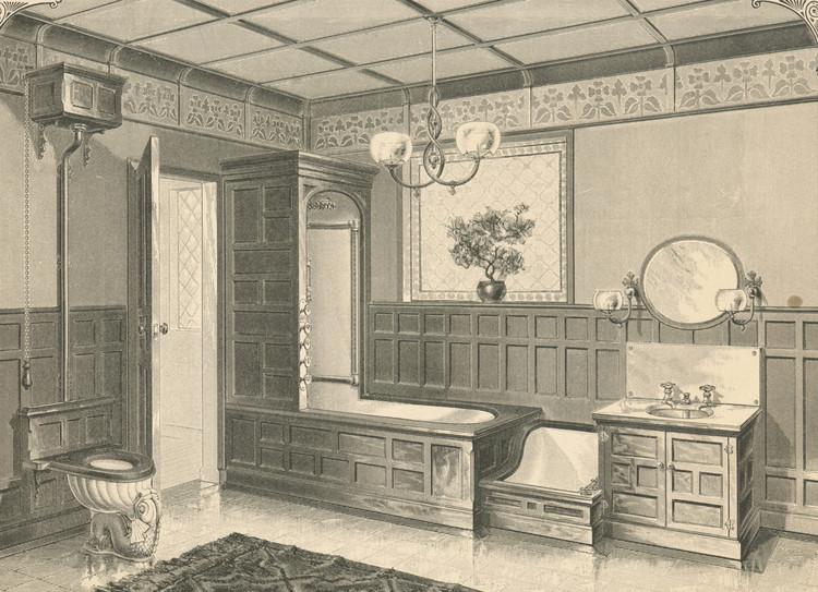 Interior del cuarto de baño por J.L. Mott Iron Works. (1888). Image © Scan by NYPL [Wikimedia] Bajo dominio público