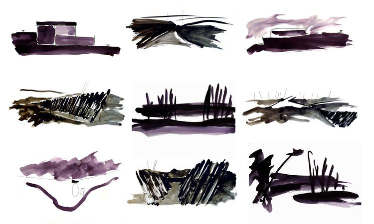 Desenho como processo: de RCR Arquitectes a Giacometti , Montagem feita com desenhos de RCR Arquitectes