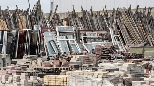 Stockyard of recycled building materials waiting for reuse . Image Courtesy of NY Engineers