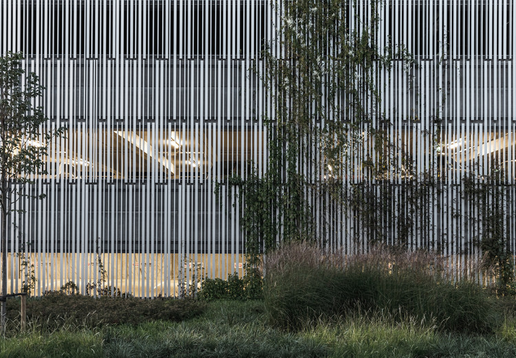 the aluminium facade of Østre Havn Parking House G2 by SANGBERG Architects was designed to be easily dismantled and recycled. Image © Rasmus Hjortshøj