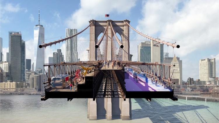 BIG entre os finalistas do concurso para transformar a Ponte do Brooklyn em Nova York, Back to the Future; BIG + ARUP, Nova York. Imagem Cortesia de Van Alen Institute
