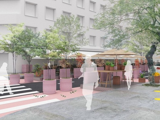 Projeto-piloto em São Paulo vai usar calçadas e ruas como área para bares e restaurantes, Cortesia de Metro Arquitetos Associados