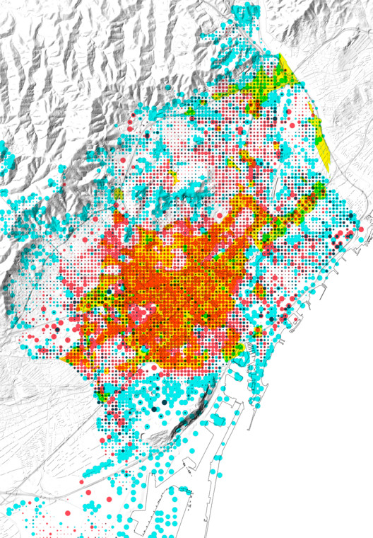 Maps of vulnerabilities (Barcelona)- Urban vulnerability (public space). Image Courtesy of 300.000 Km/s