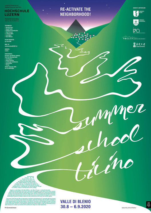 Call for Submissions: Summer School Ticino, Summer school Ticino RE-ACTIVATE THE NEIGHBORHOOD!