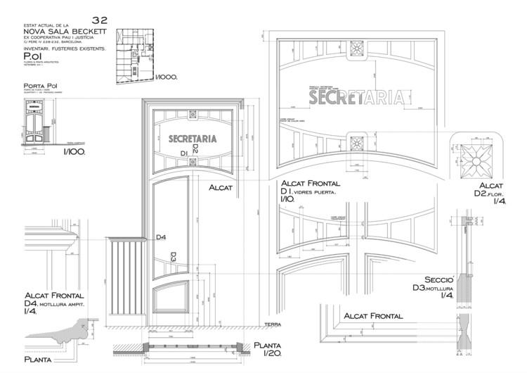 Sala Beckett / Flores & Prats. Inventario de carpinterías existentes. . Image Cortesía de Flores & Prats