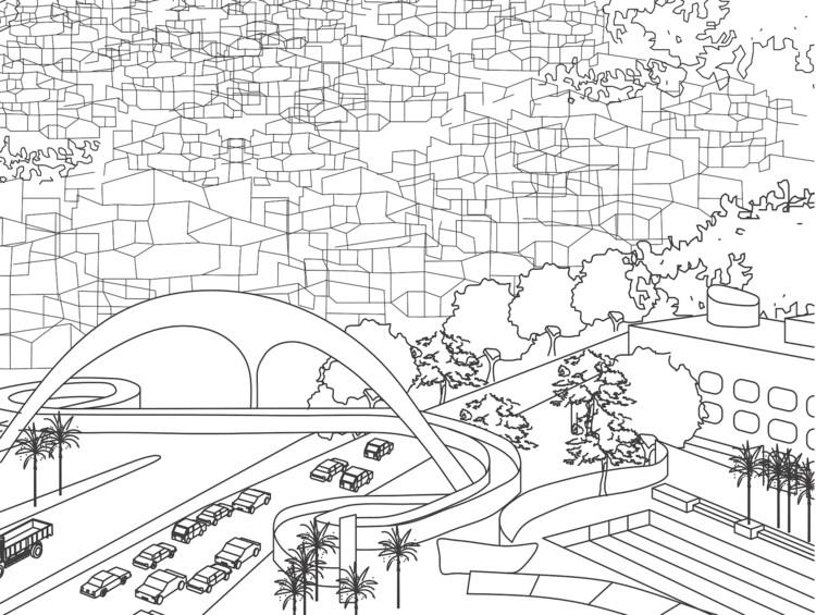 Rio de Janeiro ganha livro de colorir com tema de arquitetura, Centro Esportivo e Passarela da Rocinha | Autores: Mayerhofer & Toledo Arquitetura e Oscar Niemeyer| Data: 2010 | São Conrado. Via Arqguia Colorir