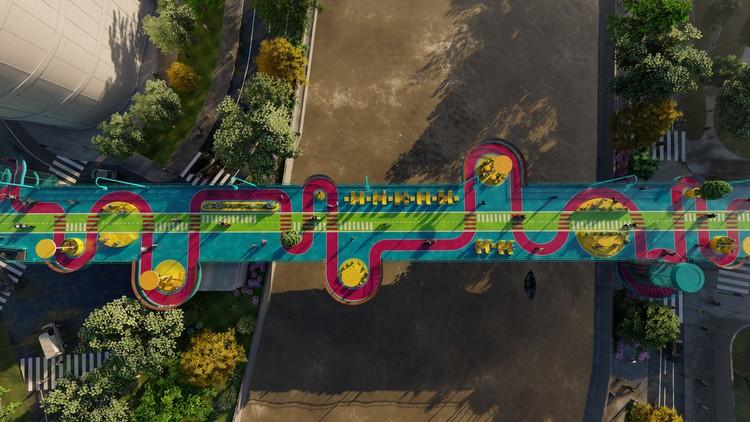 100architects transforma un puente peatonal en Shanghai en un espacio lúdico y colorido, Cortesía de 100 Architects