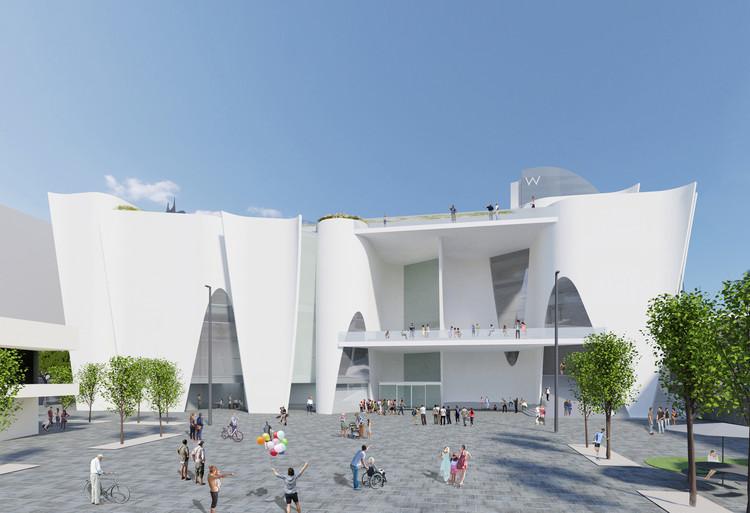 Toyo Ito diseña el nuevo Museo Hermitage en Barcelona, Perspectiva Frontal Sur. Image Cortesía de Toyo Ito & Associates, Architects