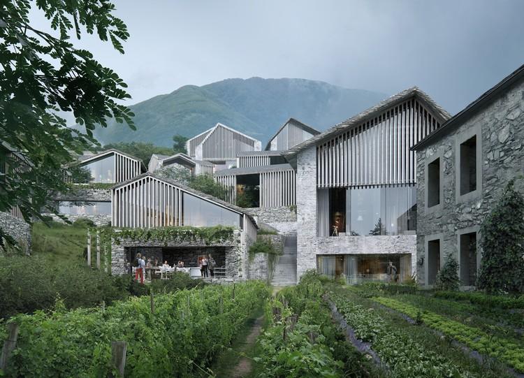 Oppenheim crée un complexe suisse isolé pour encadrer des vues sur la montagne, avec l'aimable autorisation de MIR