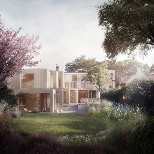 00_Proposed view of the rear facades from the garden. Image © Darc Studio, courtesy of Morris + Company