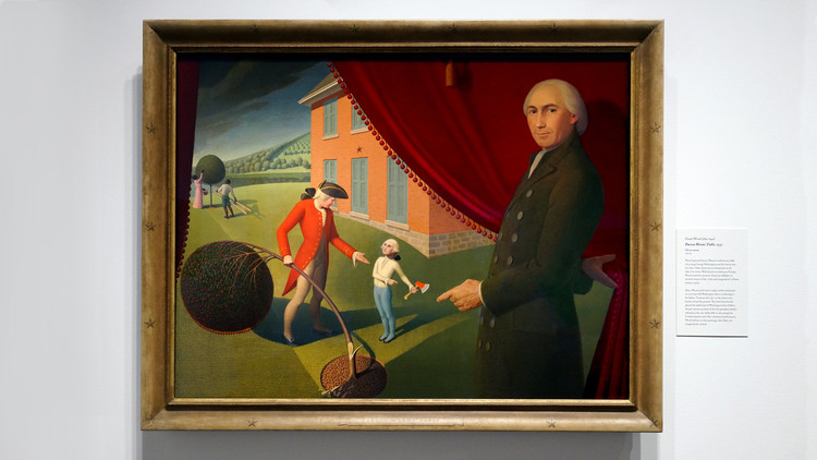 "Modern Architects Stink at Lying. Luckily, That's Fixable, © Steven Zucker [Flickr], under CC BY-NC-SA 2.0 license. Image""Parson Weems' Fable"" painting (1939) depicts Parson Weems and his famous story of George Washington and the Cherry Tree"