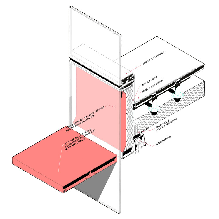Isometric curtain wall details of a horizontal shading, design study with Woods Bagot. Image Cortesia de The Donnies