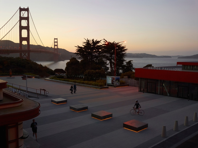 James Lord on Storytelling in Design and the Homogeneity of the Public Spaces, Golden Gate Bridge Plaza, San Francisco / Surfacedesign. Image © Marion Brenner