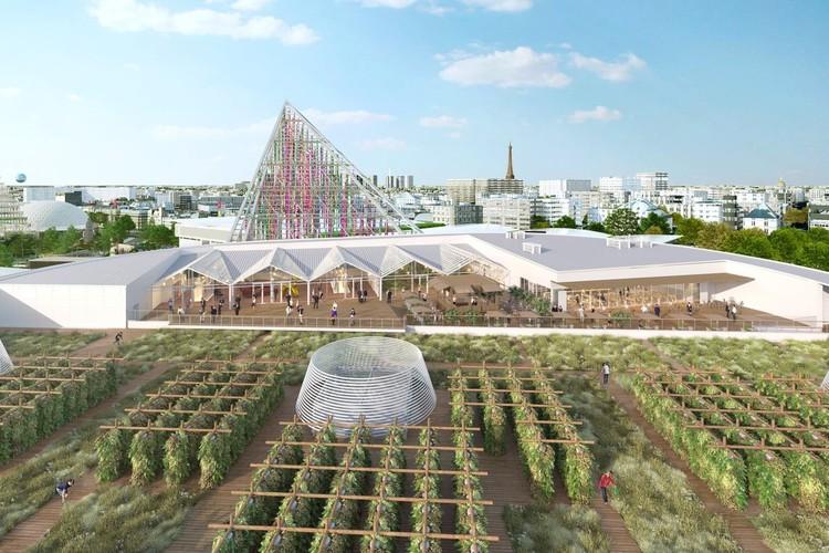 Paris inaugura a maior fazenda urbana da Europa construída sobre uma cobertura, Visualização da fazenda urbana em Paris. Imagem de divulgação