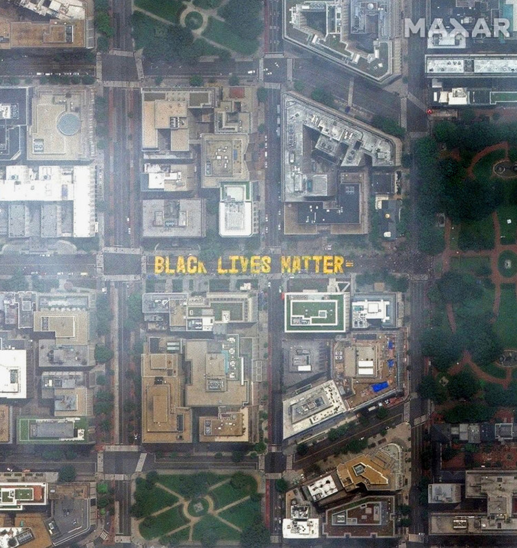"""Black Lives Matter"" mural in Washington D.C. Image created by @dailyoverview, source imagery: @maxartechnologies"