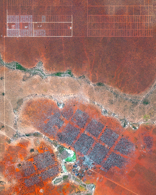 Refugee camp in Dadaab, Northeast Kenya. Created by @benjaminrgrant, source imagery: @digitalglobe