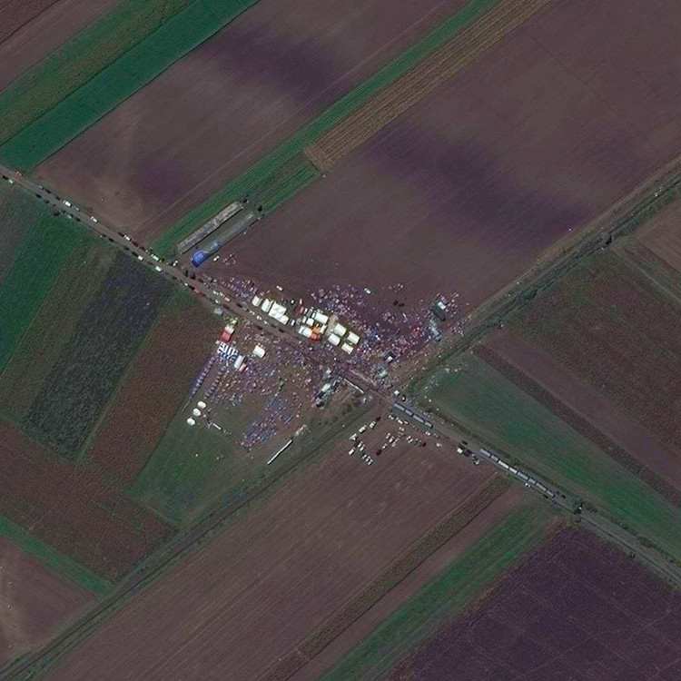 Temporary shelters in Röszke (Hungary). Image by Daily Overview