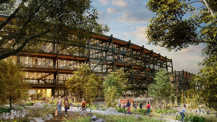 Post-COVID: los diseños de oficinas demandan espacios de trabajo permanentes al aire libre, Un complejo de oficinas de 500,000 pies cuadrados en Atlanta por RIOS. Imagen cortesía de RIOS