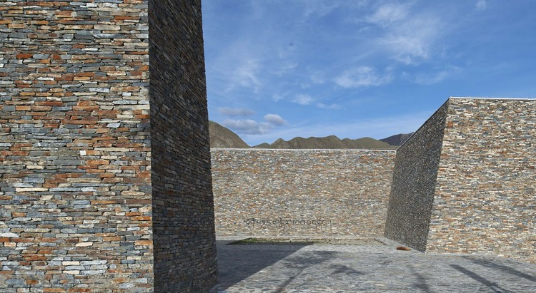 Gesar Square / Zhoukai, HHDesign, square open towards the mountain and statue. Image © Gang Wei