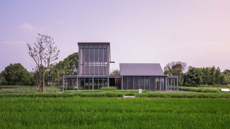 Rice Field Bookstore of Tanjiawan Agricultural Site Park / MUFU-ARCHILAB, south facade. Image © Weijie Lu