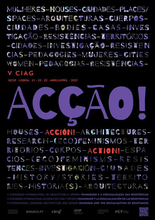 Chamada de propostas: V Congresso Internacional Arquitectura e Género   ACÇÃO, Cartaz VCIAG: ACÇÃO! (Margarida Ornelas)