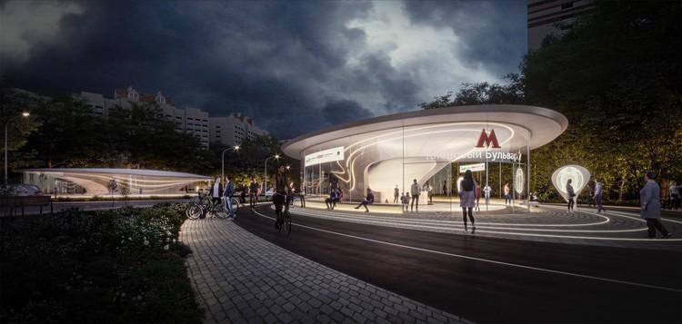 Zaha Hadid Architects e ASADOV vencem concurso para duas estações de metrô em Moscou, Estação Klenoviy Bulvar 2 - 1º Lugar. Cortesia de Zaha Hadid Architects