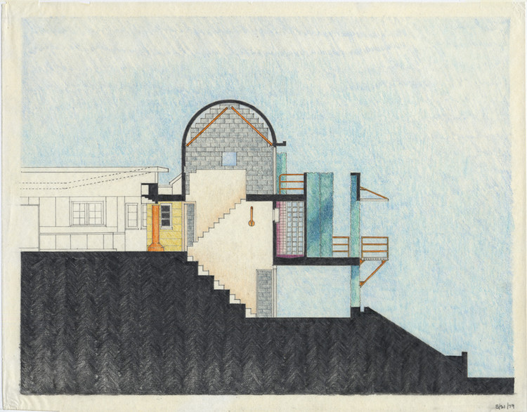 """""""Thom Mayne: Sculptural Drawings"""" Opens at the Museum for Architectural Drawing in Berlin, Flores Residence, Pacific Palisades, Los Angeles, USA 1979. Image Courtesy of Thom Mayne"""