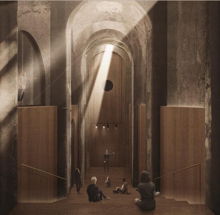 Conheça os vencedores do concurso para o reuso da ruína romana da Piscina Mirabilis , Terceiro Lugar - Maura Pinto, Piervito Pirulli. Imagem Cortesia de Re-Use Italy