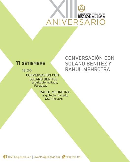 Conferencia Internacional de Rahul Mehrotra y Solano Benítez sobre nuevas tendencias