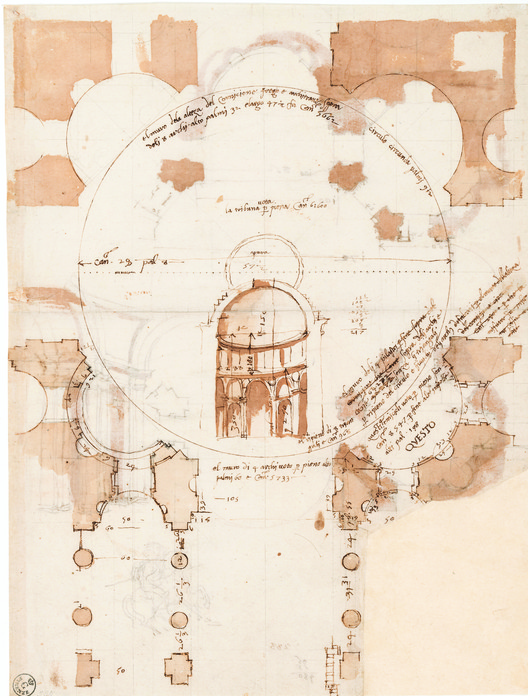 Early 16th Century drawing by Baldassare Peruzzi thinking through four versions, in plan, of corner niches for the central crossing of St Peter's Rome.. Image Courtesy of Oro Editions