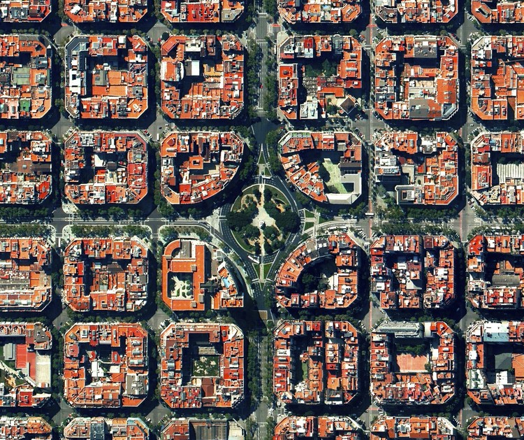 Are Cities Over? Not So Fast, Aerial view of Barcelona, Spain. Image Courtesy of Daily Overview. © Satellite images 2016, DigitalGlobe, Inc