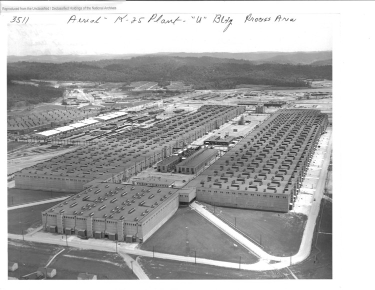 Aeriel view of the K-25 plant, Oak ridge, 1945. Image Courtesy of National Archives and Records Administration