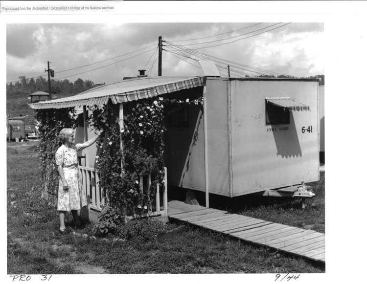 Trailer with decorative trellis, Oak ridge, 1944. Image Courtesy of National Archives and Records Administration