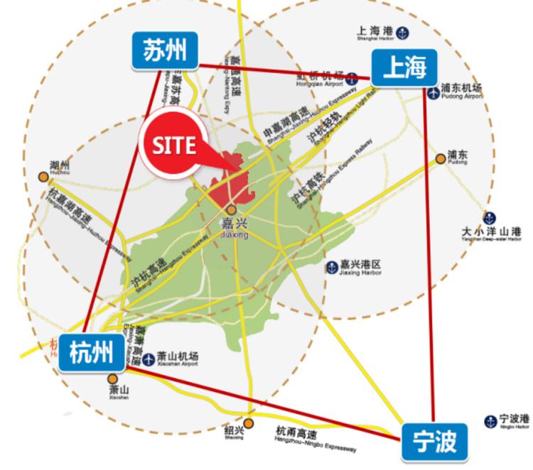 Location Map of Xiushui New District of Shanghai-Hangzhou-Suzhou-Ningbo City Circle