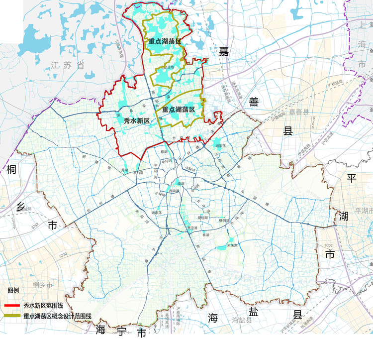 Location Map of Xiushui New District of Jiaxing City