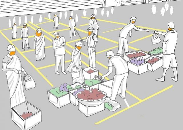 Urbanismo tático: uma ferramenta adaptável para manter o distanciamento seguro, Um bazar Rythu temporário em Visakhapatnam, na Índia. Ilustração: Rajeev Malagi/WRI