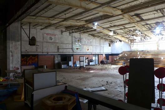 Inside the crumbling Sabine High School today. Image © Laura Blokker