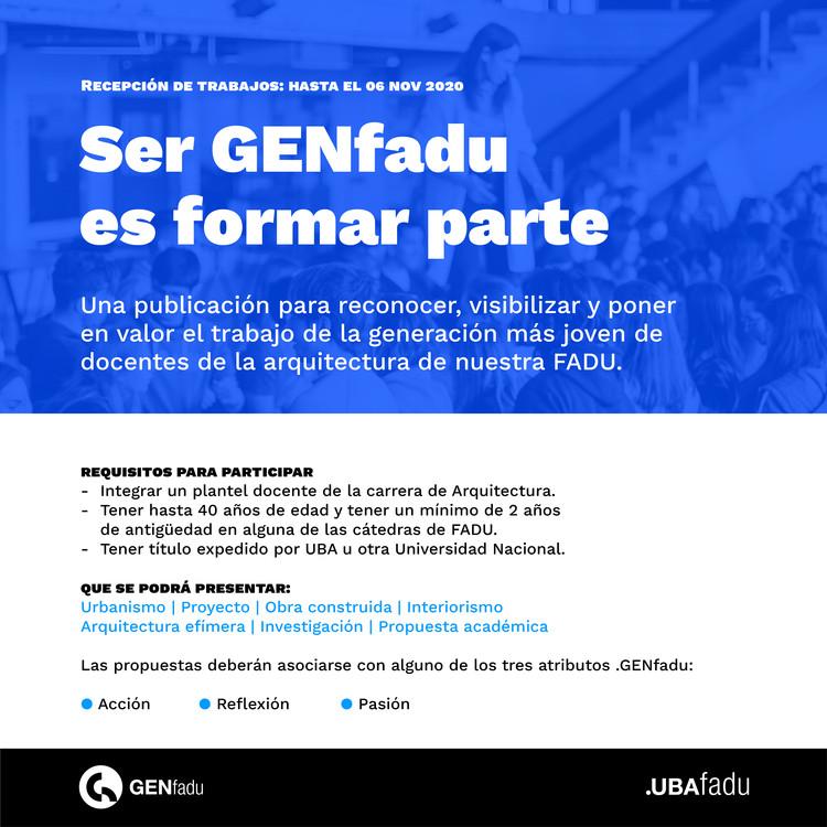 GENfadu, convocatoria para arquitectas y arquitectos docentes de la UBA, GENfadu