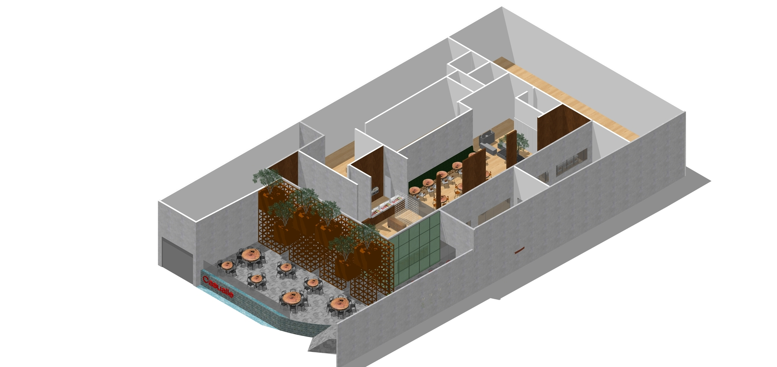 Pizzeria Casuale / Roby Macedo arquitetura e design, Axonometric