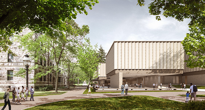 Adjaye Associates Designs the New Princeton University Art Museum, The new Museum complex as seen from the southwest corner, with Dod Hall to the left; the outdoor terraces here will accommodate up to 2,000 people.. Image © Adjaye Associates