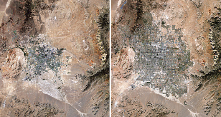 How We Change the Earth: Human Transformations on the Planet as Seen from Above, Las Vegas Expansion, 1989/2019. Source Imagery courtesy of The European Space Agency (ESA)  Paris, France