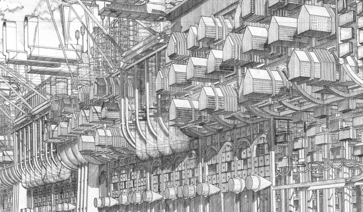 The Architecture Drawing Prize: Entry Deadline 2 October 2020, 2019 Commended: Ark City, viewed from flood level, passing through London, Eric Wong, Louis Sullivan, Colette Roberts Camina and Christopher Canada