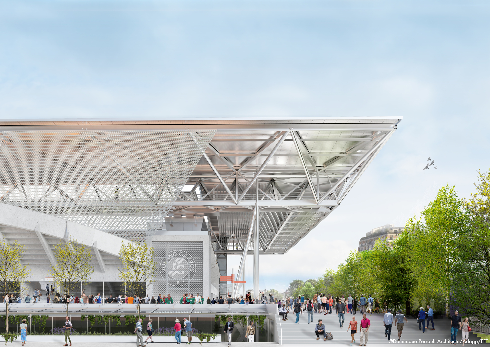 Dominique Perrault Wins Competition To Design The New Roof On Suzanne Lenglen Tennis Court Archdaily