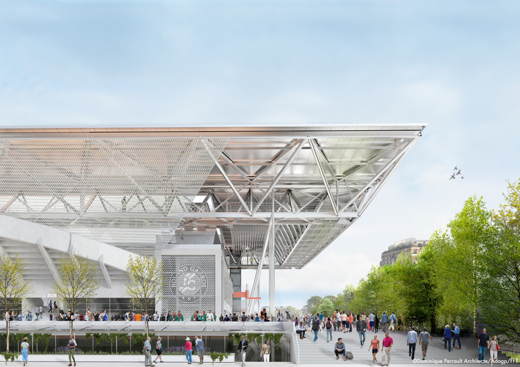 Dominique Perrault Wins Competition to Design the New Roof on Suzanne Lenglen Tennis Court, Courtesy of DOMINIQUE PERRAULT ARCHITECT