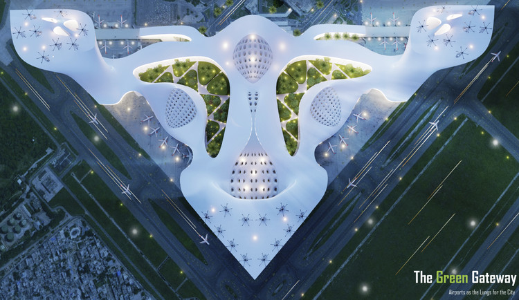 Fentress Global Challenge Announces Winners of the 2020 Airport of the Future Global Student Design Competition, First Place: BANIYA, The Green Gateway, Southern California Institute of Architecture. Image Courtesy of Fentress Global Challenge